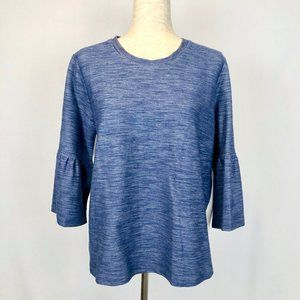 Gilli Bell Sleeve Blouse Blue Stretch Size Large